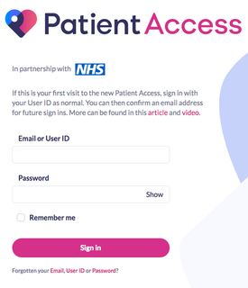 Patient Access sign in screen shot